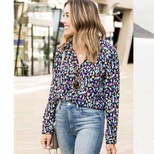 New Gibson printed long sleeve blouse